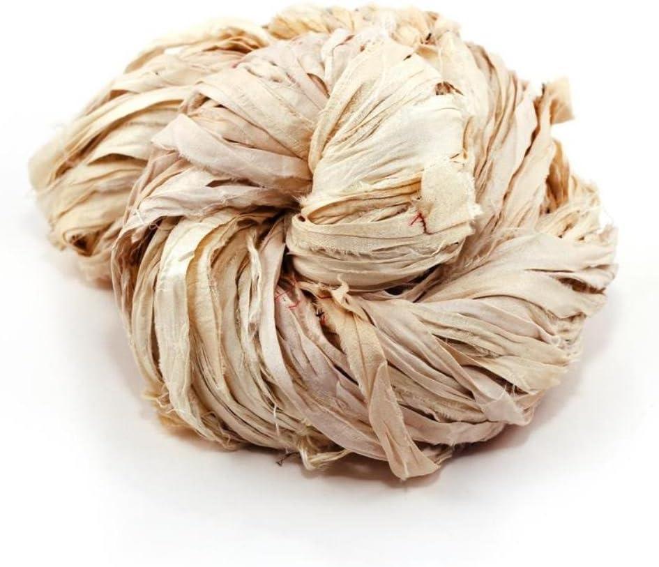 DARN GOOD YARN | one of a Kind | Recycled Sari Silk Ribbon Yarn, Handmade Vintage Ivory, White, Off-White Ribbon | dyable | 100 Grams, 50 Yards, 1 Skein