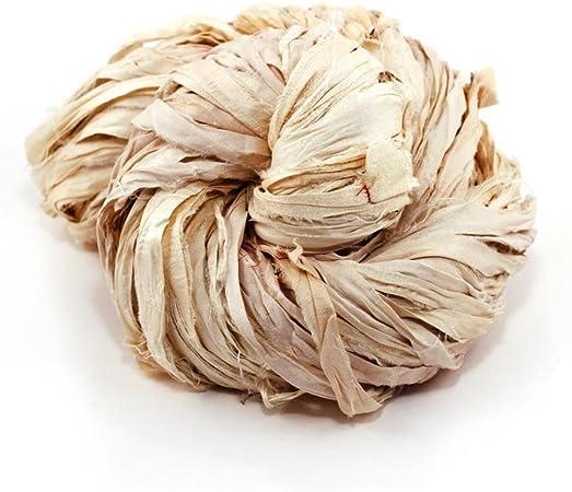 DARN GOOD YARN   one of a Kind   Recycled Sari Silk Ribbon Yarn, Handmade Vintage Ivory, White, Off-White Ribbon   dyable   100 Grams, 50 Yards, 1 Skein