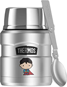 Superman Cute Chibi, THERMOS STAINLESS KING Stainless Steel Food Jar with Folding Spoon, Vacuum insulated & Double Wall, 16oz