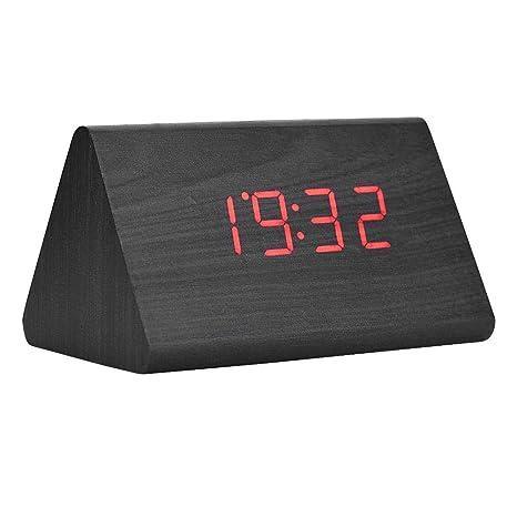 Reloj despertador digital LED, reloj de madera para habitaciones Reloj moderno triangular de madera 3