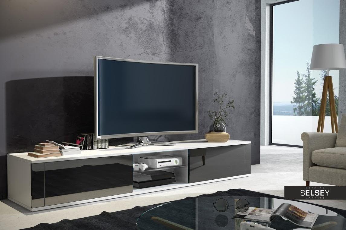 Lgant Meuble TV Avec Sonoma Blanc Brillant Amazonfr Vido