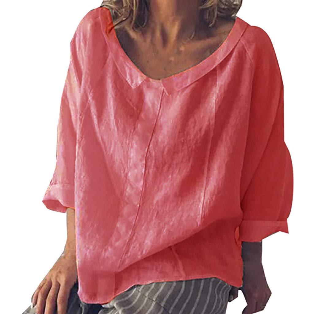 Women's Loose Basic Round Neck Casual Summer Cotton and Linen Top T-Shirt Blouse Plus Size Red by ASERTYL