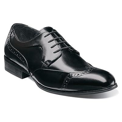 STACY ADAMS Men's Gellar Wing Tip Oxford 20155, Black Leather, US 10.5 M | Oxfords