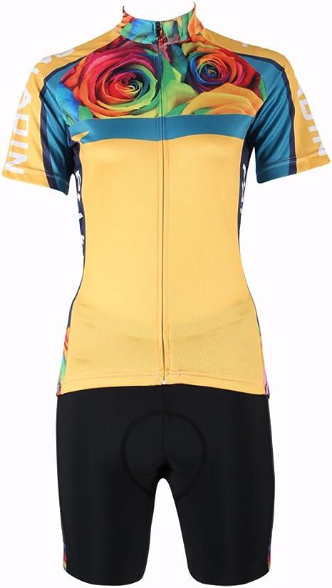 YGBH Ciclismo Jersey para Mujer Traje Deportivo de Manga Corta triatlón MTB Camisa Transpirable Camisa Adulta Gel 3D cojín: Amazon.es: Deportes y aire libre