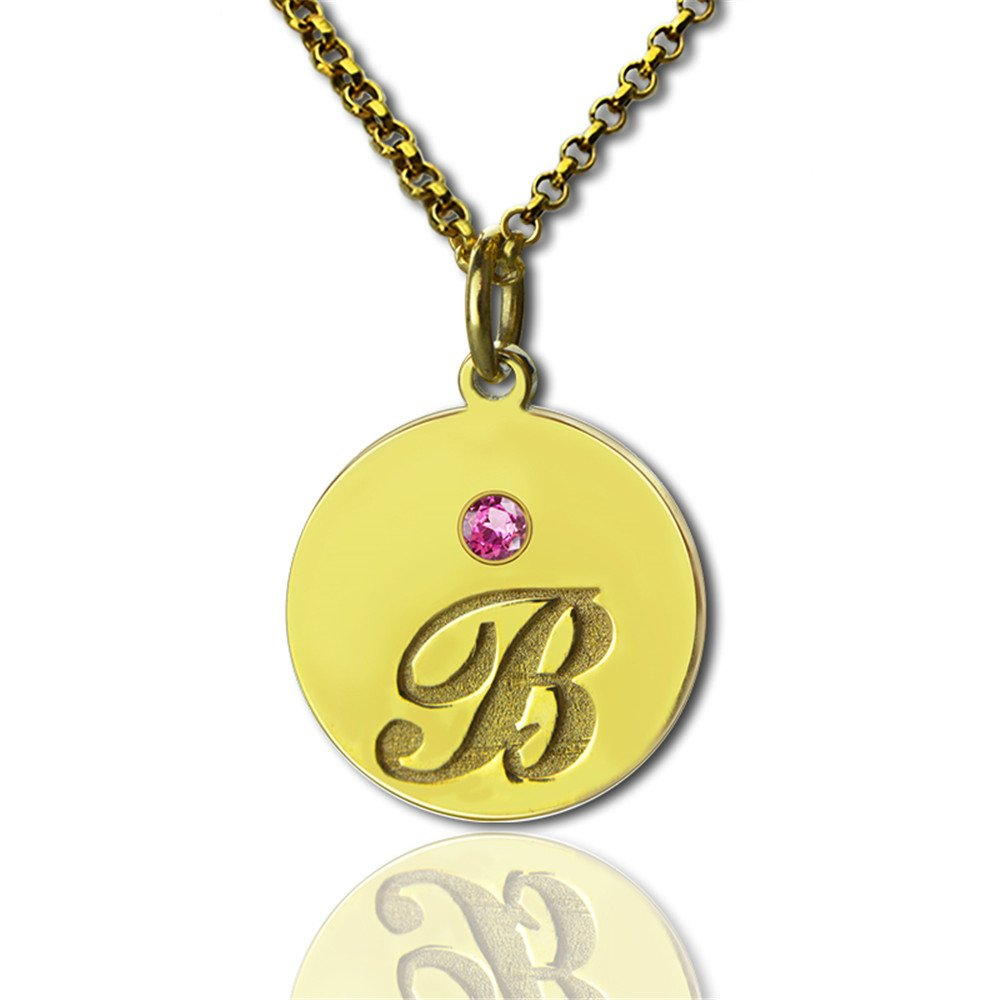 Creative Custom Letters with Initial and Birthstone Disc Pendant Necklace