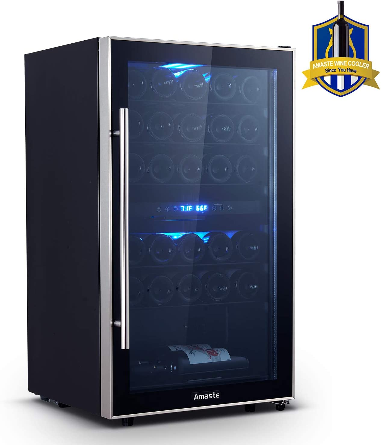 Amaste Wine Fridge, 29 Bottle Dual Zone Wine Cooler, Freestanding Wine Refrigerator with Double Pane Anti-UV Rays/Anti-frost Tempered Glass Door, High Efficiency Compressor, Stainless Steel Shelves, Blue LED Light, Reversible Door, Independent Temperature Control and Touch Control - MWC29