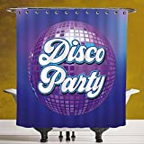 SCOCICI Waterproof Shower Curtain 3.0 by [70s Party Decorations,Retro Lettering on Disco Ball Night Club Theme Dance and Music Decorative,Purple Blue White ] Fabric Shower Curtain