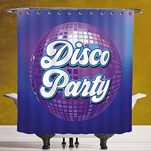 SCOCICI Waterproof Shower Curtain 3.0 by [70s Party Decorations,Retro Lettering on Disco Ball Night Club Theme Dance and Music Decorative,Purple Blue White ] Fabric Shower Curtain by SCOCICI
