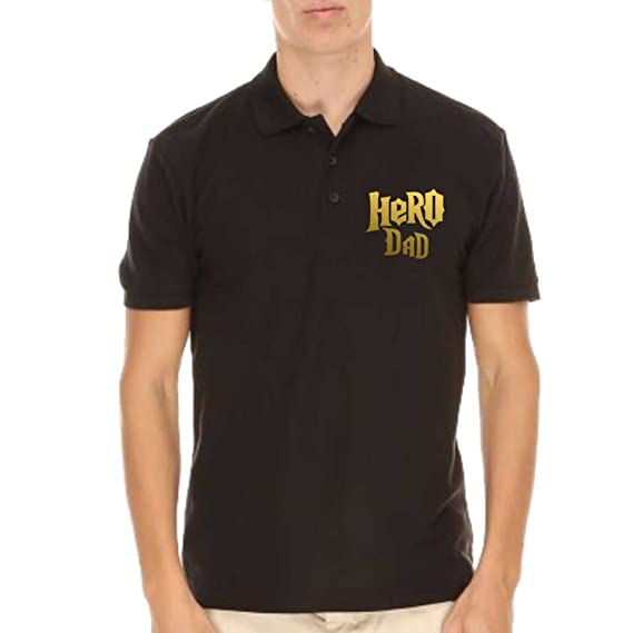 Giftsmate Mens Cotton Hero Dad Polo T Shirt For Small Black