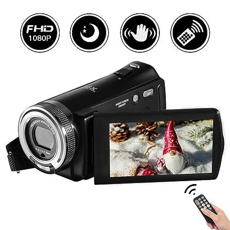 Videokamera Full HD Video Camcorder 1080p 24,0 MP 3 Zoll LCD drehbarer Bildschirm Digitale Camcorder 16x Digital Zoom Pause Funktion Videorekorder