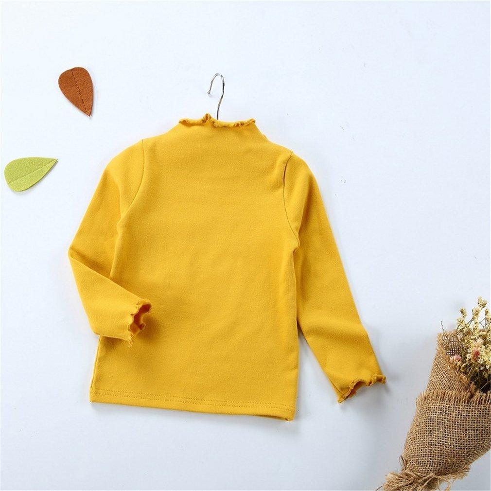 Yinew Mädchen Warm Pullover Baumwollohr Langarmkragen Kragenhemd Herbst und Winter Pullover Gelb 110cm
