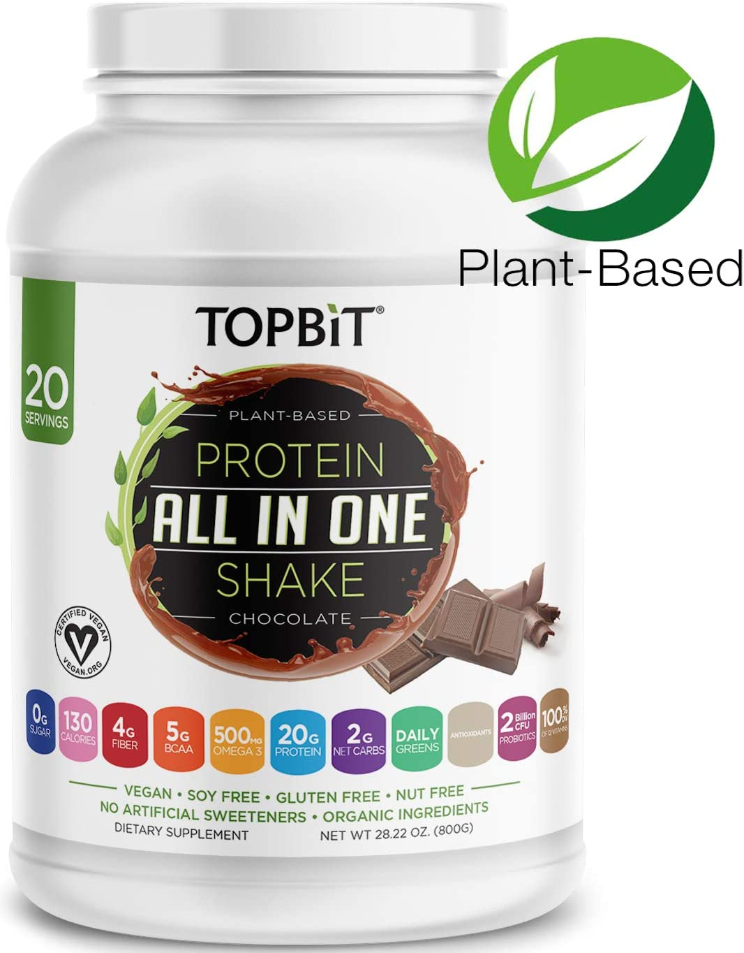 TOPBiT All-in-One Plant Protein Powder, Chocolate Vegan Protein Powder, Sugar Free Protein, Stevia Free, Nut Free, Soy Free, 20g Protein Shake, Probiotics, BCAA, Greens, 1.8LB