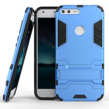 Qiaogle Teléfono Case - Shock Proof PC Hibrida Stents Carcasa Cover para HTC Google Pixel XL / Nexus M1 (5.5 Pulgadas) - HK01 / Azul claro