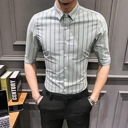 NSSY Camisa de Hombre Camisa de Hombre Camiseta de Manga Corta de Verano Streetwear Camisas a Rayas Vestido Ajustado de Negocios Ropa Formal Smoking, L: Amazon.es: Hogar