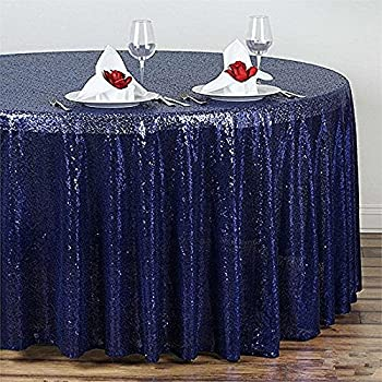 B COOL 72u0027u0027 Round Navy Sequin Tablecloth, Wedding Table Cloth, Sparkle