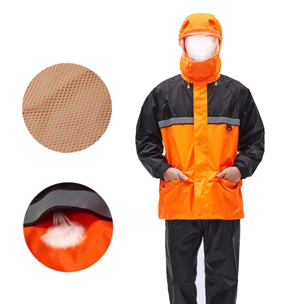 noir+Orange XXXXL HBWJSH Imperméable imperméable Split imperméable imperméable Split imperméable imperméable réutilisable Unisexe (Couleur   noir+Orange, Taille   XXXXL)