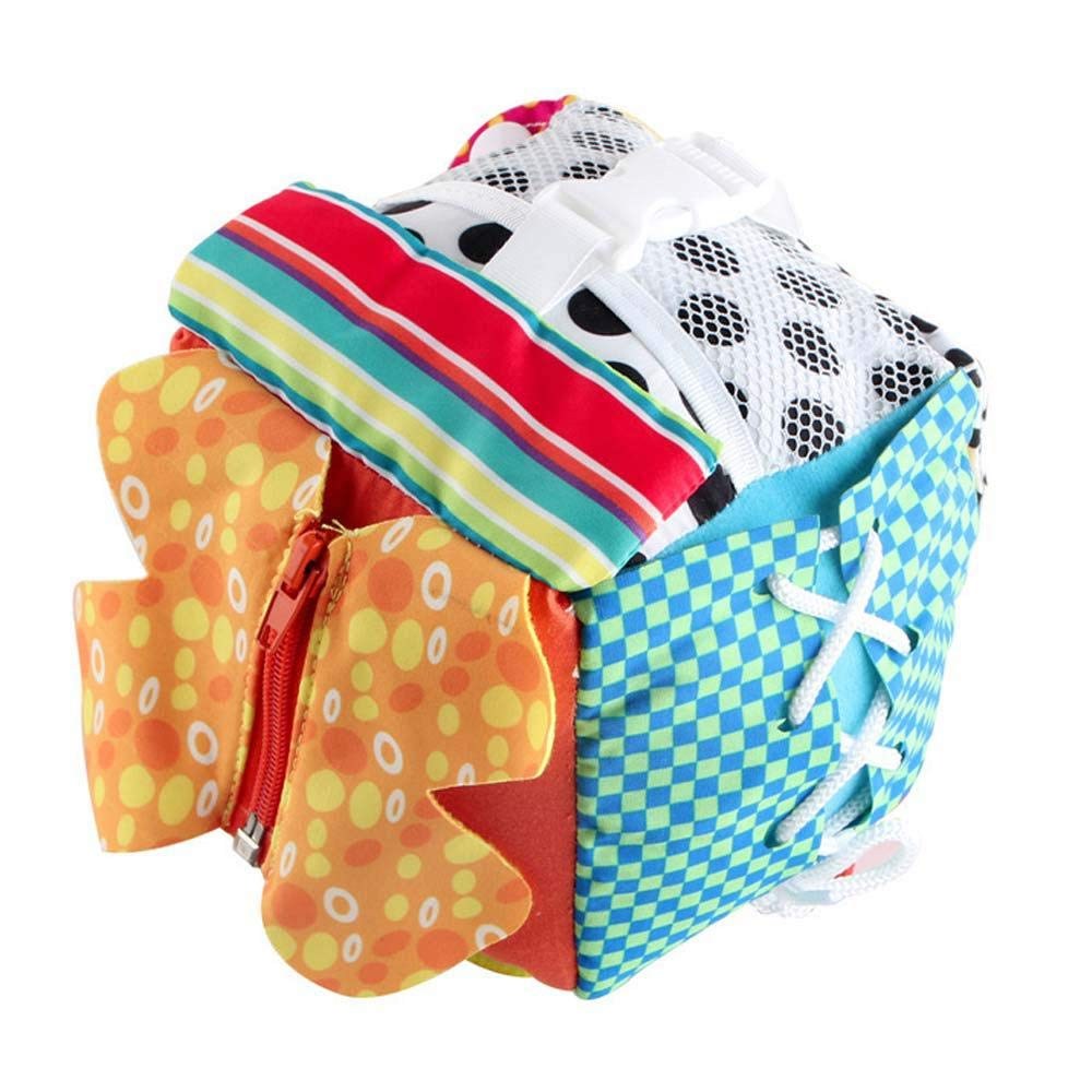 Developmental Bumpy Fabric Softener Ball Learning Basic Life Skills Educational Toy Learn To Dress//Zip//Snap//Button//Buckle//Lace /& Tie Soft Activity Cube