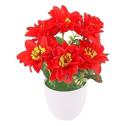 Sourcingmap® Maceta Plástico Hogar Oficina Escritorio artesanía decoración mesa rojo flores Artificial