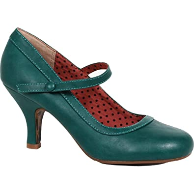 2ea15cd415d Amazon.com  Bettie Page Shoes Bettie Retro Mary Jane Heel Green Vintage  Rockabilly Pin Up  Shoes