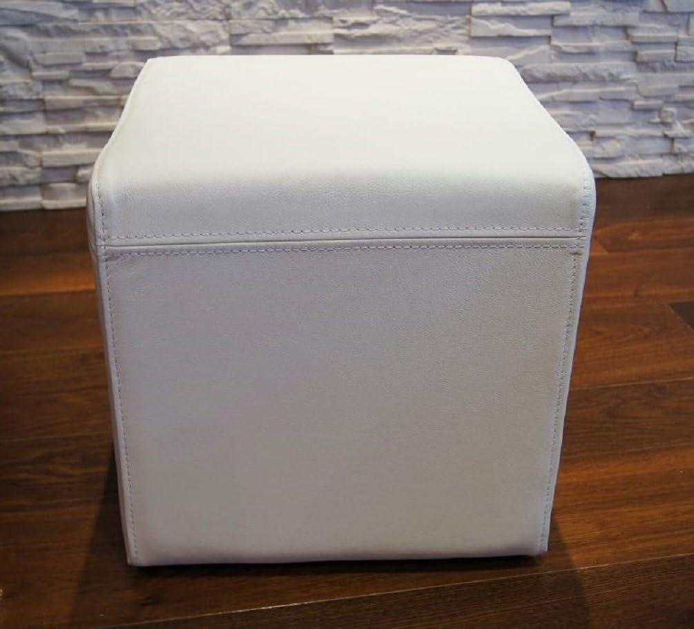 Tabouret en Cuir v/éritable Blanc 40 x 40 x 40 cm