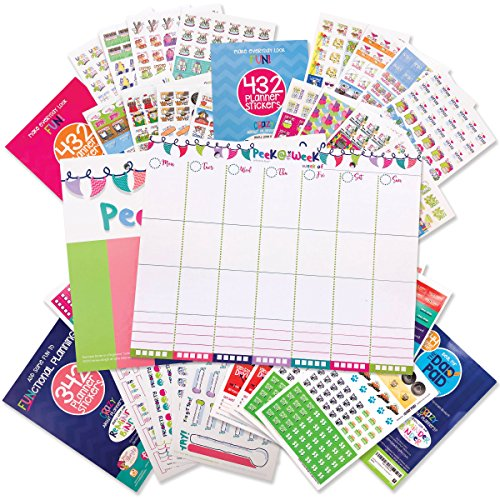 Weekly Planner Pad Bundle + Event Stickers Variety Sets (Total of 1,850 Stickers) Daily Vertical Layout, Tear Off To Do Lists, 8