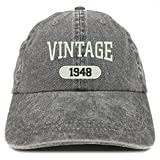 vintage shops - Trendy Apparel Shop Vintage 1948 Embroidered 70th Birthday Soft Crown Washed Cotton Cap - Black