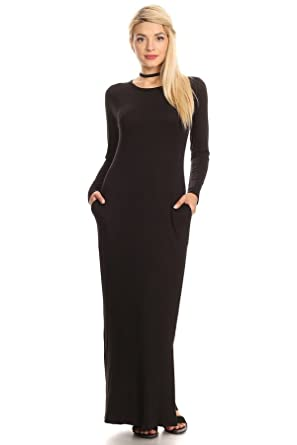 Nelly Aura Womens Long Sleeve Maxi Dress W Pocket Side Slit - Black - 1X ac201bfc9