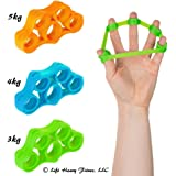 Finger Stretcher Hand Resistance Bands, FREE MINIEBOOK.ON using Extender Exerciser. 3 Pack Finger Grip trainer is great for Rehabilitation Relieve Joint Pain, Injury Stress Relaxation, Gripper Set.
