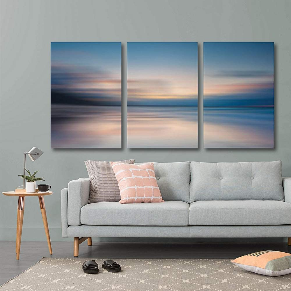 3 Piece Canvas Print - Contemporary Art, Modern Wall Art - Sunrise Golden Hour Lake Setting Abstract - Giclee Artwork - Gallery Wrapped Wood Stretcher Bars - Ready to Hang 16