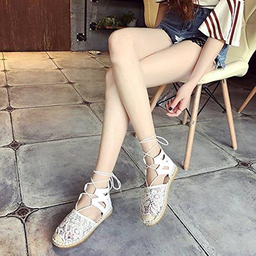 Lanière Élégant Été C4 Noir Femmes Sandale de Plateforme Sandale Romaines Sandales Bout Ficelle Bohême Cravate Cheville Rond Chaussure Sandales Brun Plage Blanc Lace wtPSnXq