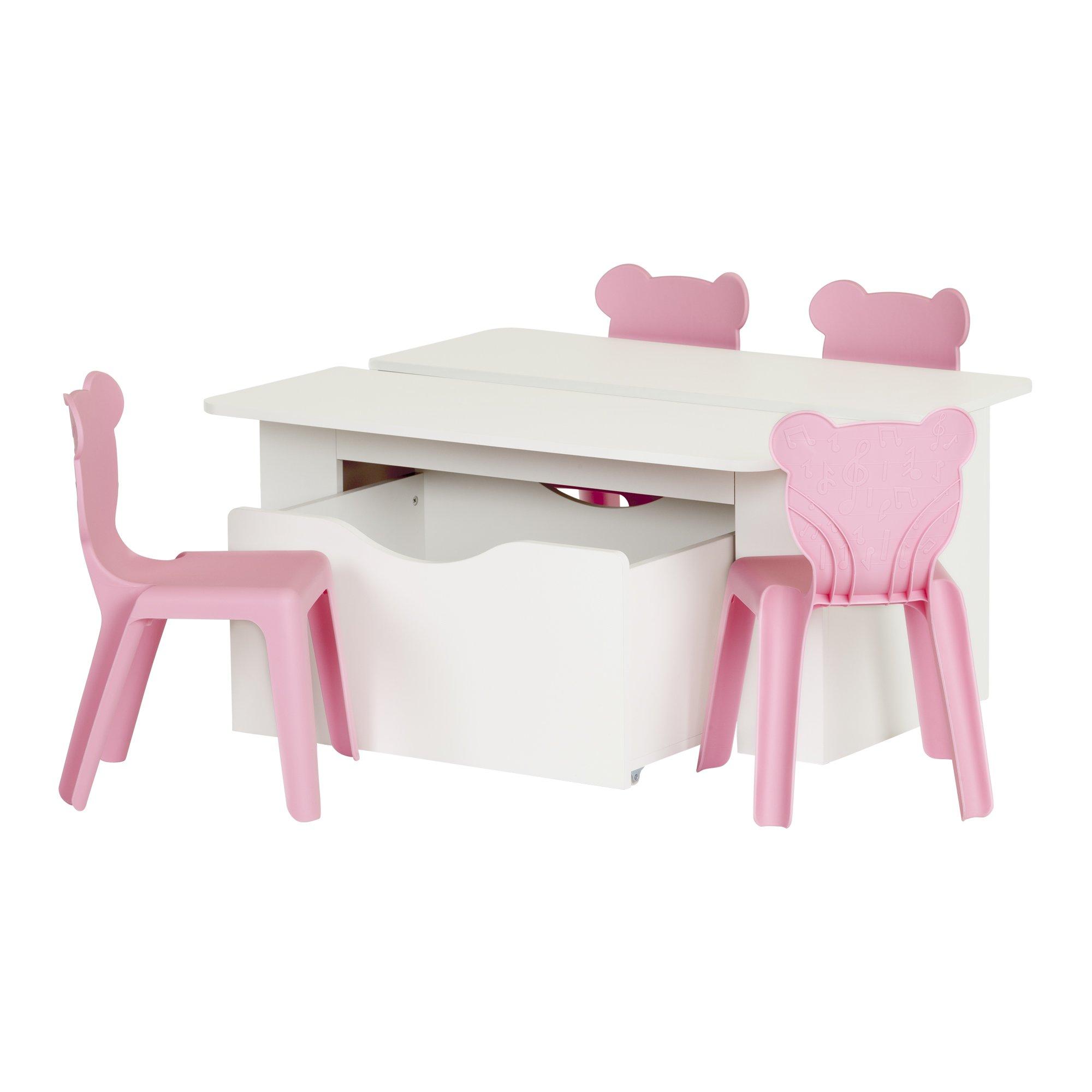 South Shore Crea Pure White Kids Activity Table & 4 Plastic Chairs Set, Pink