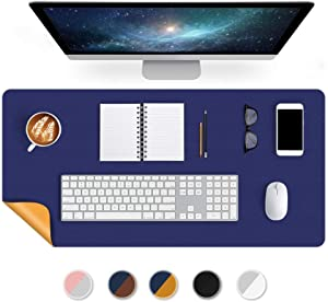 Office Desk Mat Mouse Pad 17 X 34 Inch PU Leather Desk Pad Blotters Table Protector on Top of Desks Laptop Computer Gaming Keyboard Desktop Organizer Waterproof Dual-Sided Desk Writing Mat Blue/Yellow