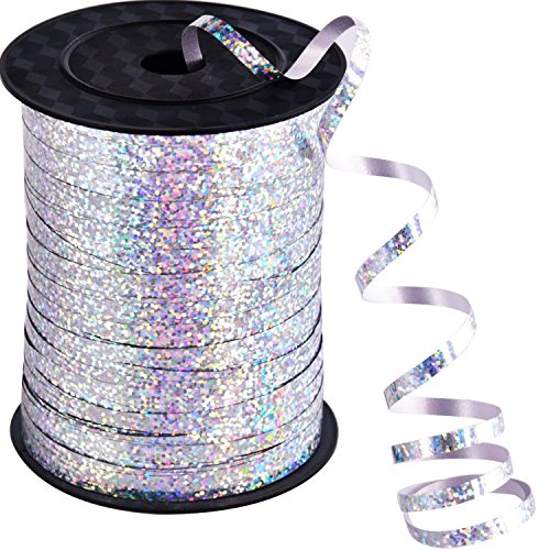 Color Curling Ribbon - Willbond 500 Yards Curling Ribbon Metallic Balloon Roll for Party Festival Art Craft Decor and Wrapping (Silver)