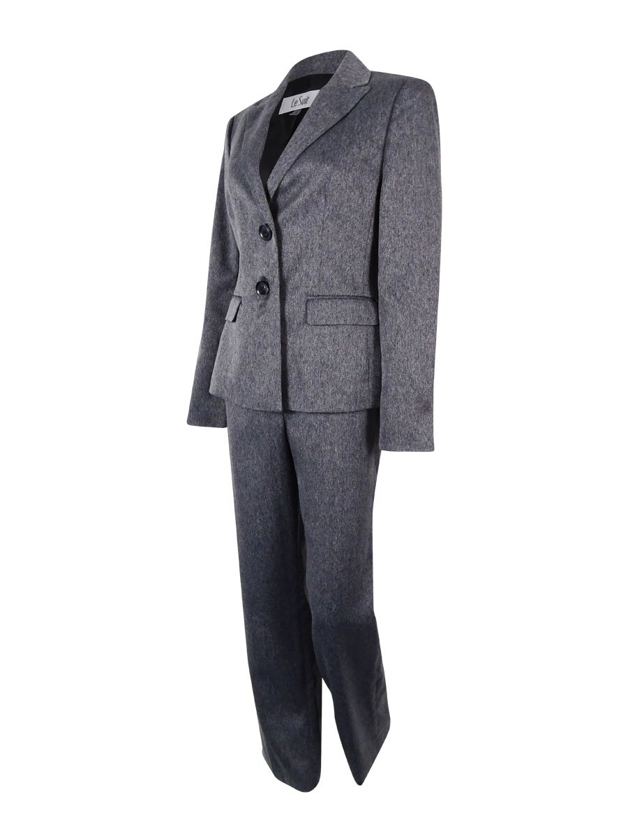 Le Suit Women's Plus-Size Two Button Herringbone Jacket and Pant Suit Set, Charcoal, 24W by Le Suit