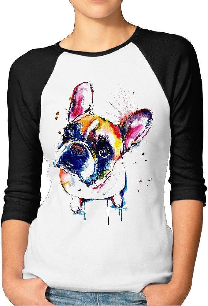 ElishaJ Women's French Bulldog 3/4 Raglan Sleeves Baseball T-Shirt - Black