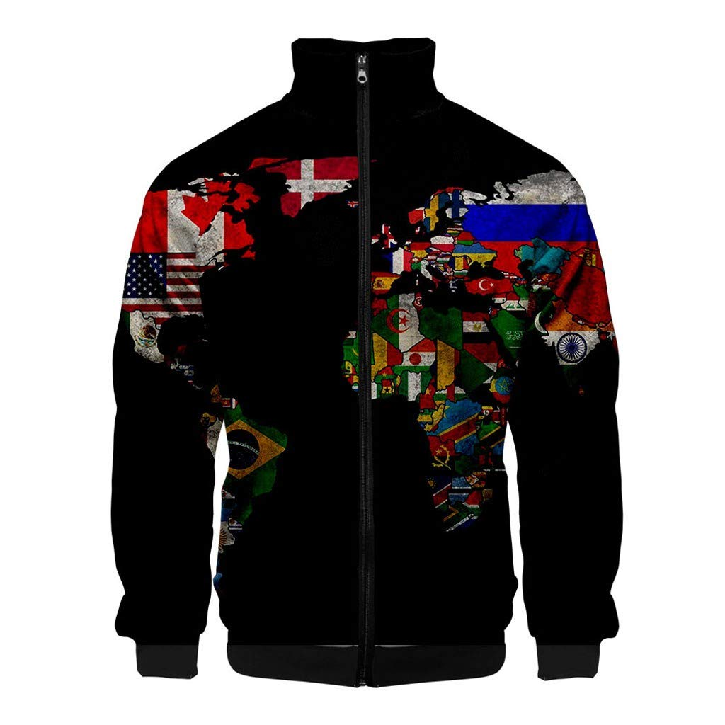 Men 3D Printed Coat, NDGDA Unisex Front Zipper Long Sleeve Baseball Jacket World Map Cardigan Standing Collar Tops by NDGDA 🔰 Men's Jacket & Coat