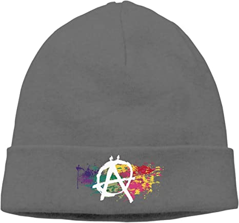Anarchy Symbol Watercolor Rainbow Knitted Hat Winter Outdoor Hat Warm Beanie Caps for Men Women