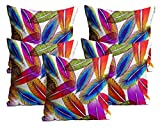 Mukesh Handicrafts Feather Jute Fabric Cushion Cover Set Of 5 - Size (24X24 Inches)