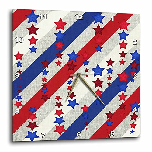 Stars and Stripes in Red, White, and Blue Wall Clock