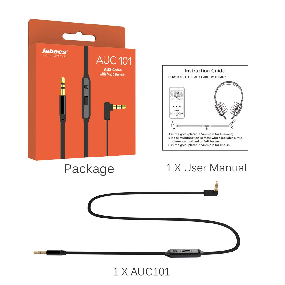 Aux Cord 3.5mm 3ft with Mic and Volume Control Aux Audio Cable for Connect Gaming Headphones/Headsets with Xbox/P4P│Male to Male Replacement Cord for Music and Voice Streaming for Cellphone