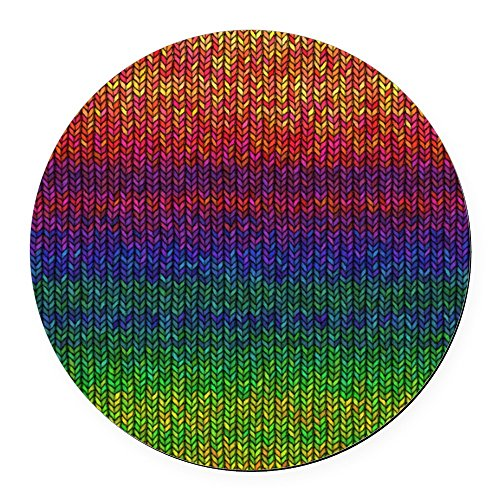 CafePress - Rainbow Knit Photo Round Car Magnet - Round Car Magnet, Magnetic Bumper -