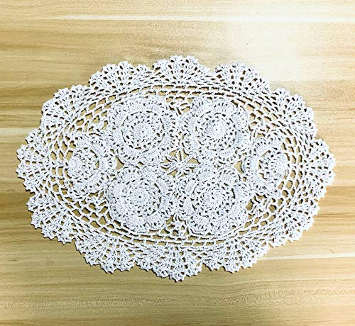 - EIYYE Handmade Cotton Crochet Doilies Lace Table Placemats 12 x18inch Oval, White (2)