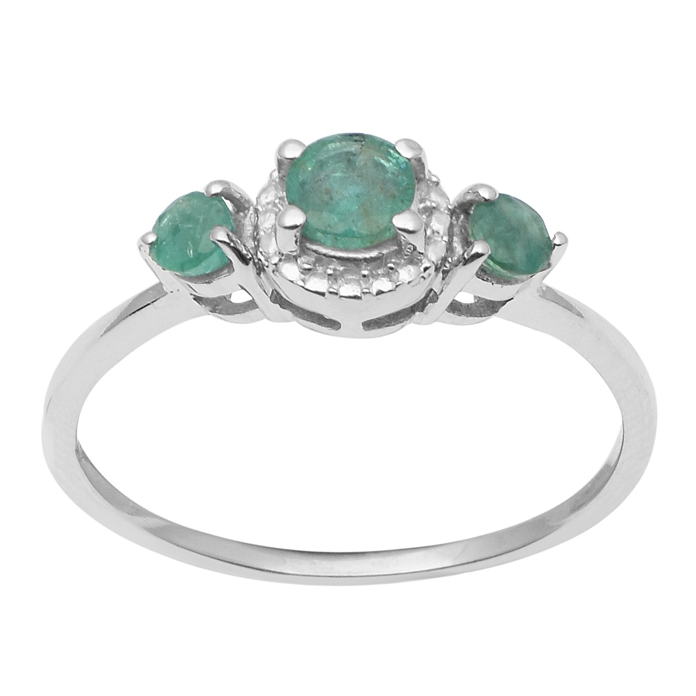 Natural Round Cut Emerald Gemstone 925 Sterling Silver Solitaire Wedding Ring