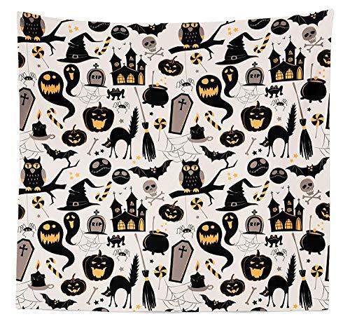 SODIKA Vintage Halloween Tapestry, Halloween Cartoon Jack o Lantern Tombstone Skulls and Bones, Fabric Wall Hanging Decor for Bedroom Living Room Dorm, 23 W X 28 L inches, Pale Grey Multicolor