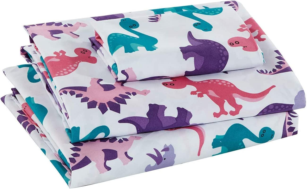 Better Home Style Multicolor Pink Blue Purple Dinosaurs Design for Girls/Kids/Teens 3 Piece Sheet Set with Pillowcases Flat and Fitted Sheets # Dinosaur Land Pink (Crib)