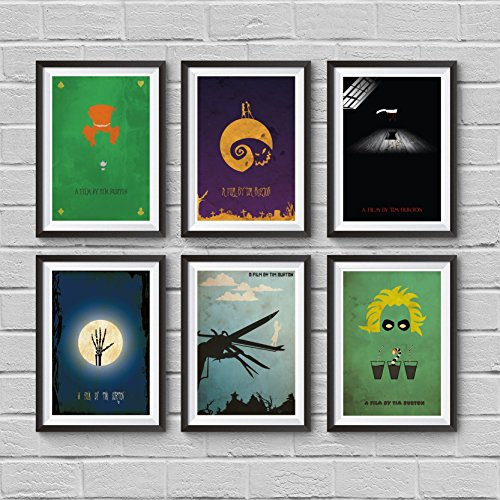 [Tim Burton's Minimalist Poster Set 6 Movie in Set Alice in Wonderland The Nightmare Before Christmas Sweeney Todd Corpse Bride Edward Scissorhands Beetlejuice Artwork Art Home Decor Wall] (Sweeney Todd Halloween)