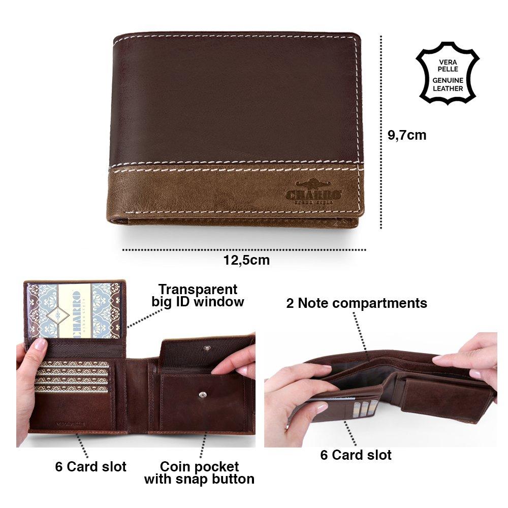 f4d3223e44 Portafoglio Uomo in Vera Pelle - Wallet Classico e Sottile con Portamonete  - Formato orizzontale con Porta Tessere Documenti e Banconote - 12.5x10x2  cm ...