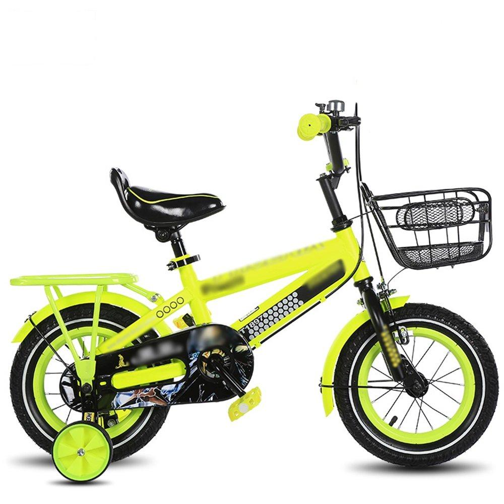FEIFEI Bicicleta para niños, tamaño opcional 12 pulgadas, 14 pulgadas, 16 pulgadas, 18 pulgadas Azul, rojo, amarillo Protección para seguridad del asiento ajustable para bicicletas para bebés ( Color : Amarillo , Tamaño