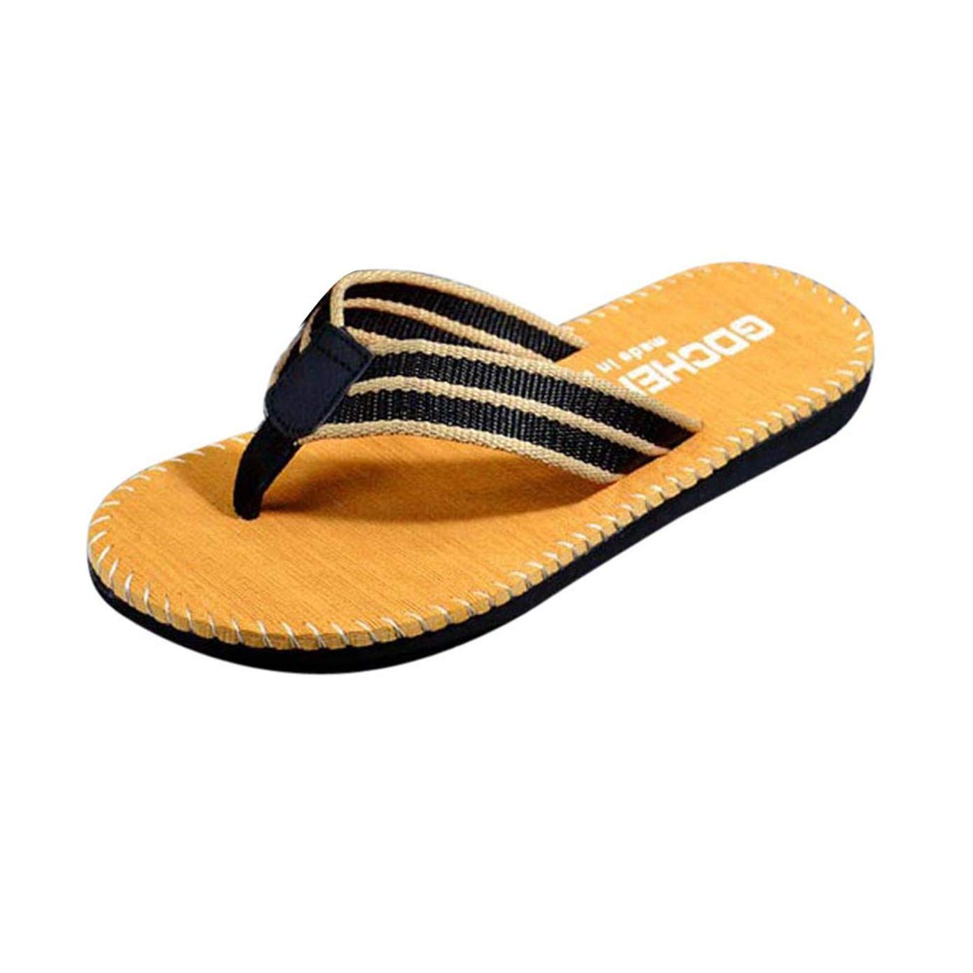 TIFENNY Men Summer Flip Flops Shoes Sandals Male Stripe Home Slipper Flip-Flops Khaki
