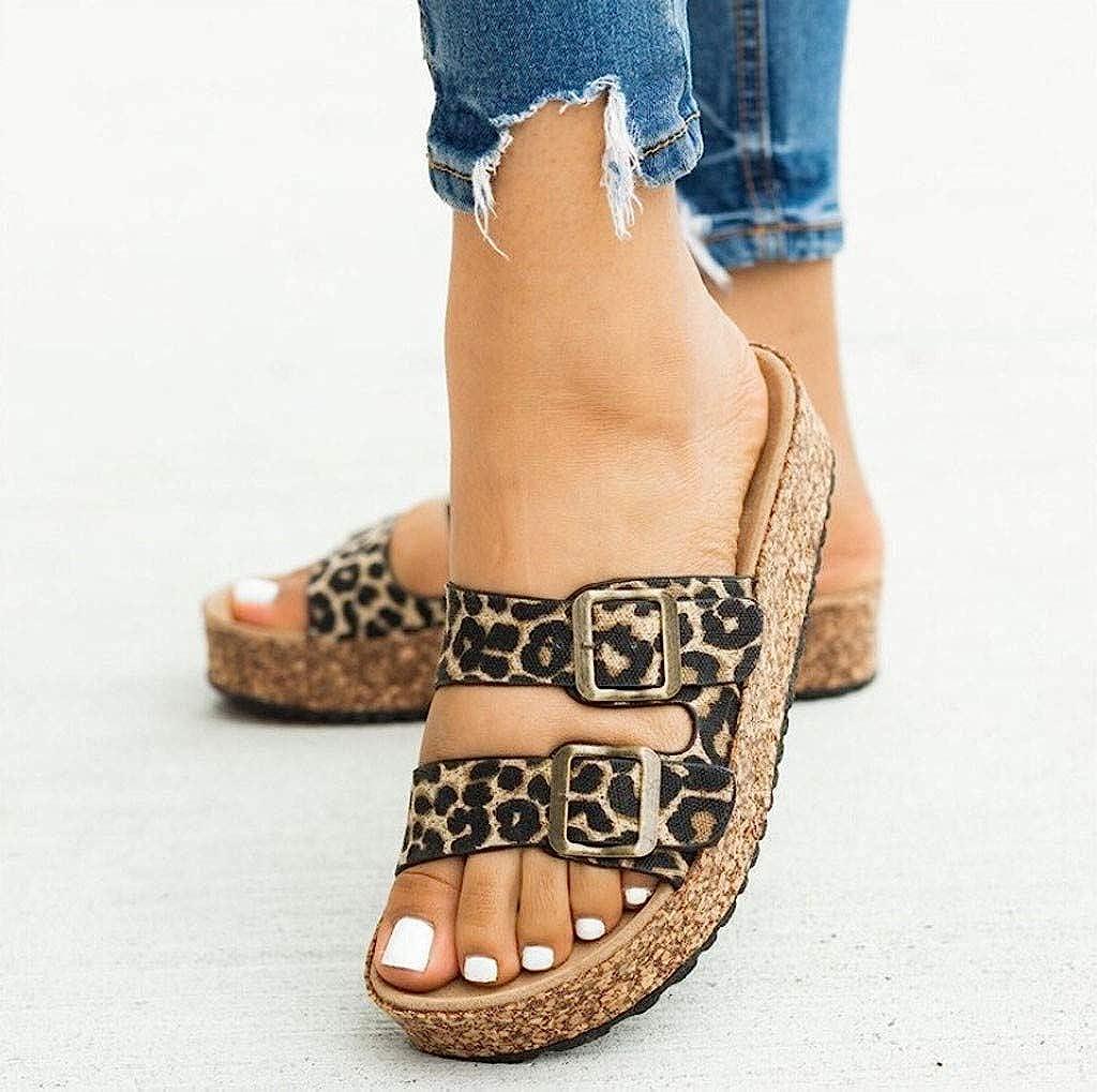 Dainzusyful Womens Flat Sandals Gladiator Strap Slip on Cork Sole Summer Breathable Open Toe Low Beach Slippers